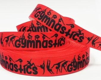 "7/8"" inch Gymnastics Gymnast Black on Red Background Sports Printed Grosgrain Ribbon for Hair Bow - Original Design"
