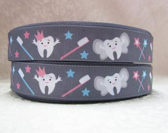 7/8 inch Tooth Fairy on Gray / Grey Dentist - Style 6015 - Printed Grosgrain Ribbon for Hair Bow