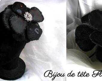 Bijou de tête Fleur chic, bibi, serre tête noir