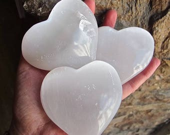 Three Large Polished Selenite Crystal Puff Hearts