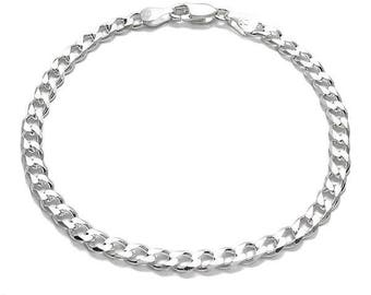 "925 Sterling Silver Cuban Curb Link Chain Bracelet - 120 Gauge 5 mm - 7.5""/8""/9"""