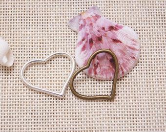 Big Heart-Shaped Ring Charm Pendant,22.5*28 mm Pendant,Engraved Antique Silver Supplies,Antique Bronze Supplies,DIY Supplies