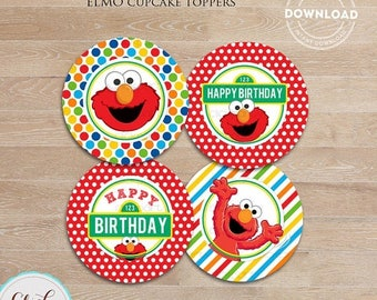 50% OFF SALE Elmo Cupcake Toppers, Sesame Street Printable cake toppers, 1st Birthday party decorations, Party supplies, INSTANT Download