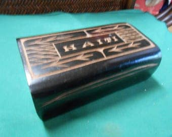 Wood Trinket Box-Signed HAITI