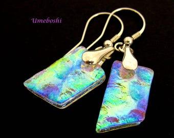 Rainbow Ice Handmade Clear Textured Dichroic Glass Dangle Earrings, Iridescent Glass Earrings, Original Glass Jewelry Women's Fashion