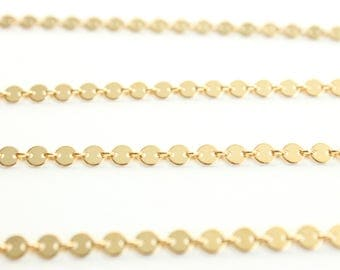 Sequin Chain by the Foot - 14k Gold Filled Round Disc Chain - Unique Chain - Fancy Chain - Coin Chain - Flat Plain Circle Chain / GF-CH010