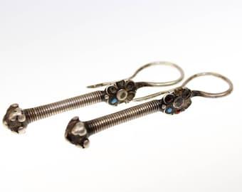 Vintage Afghan Tribal Silver Earrings, Tribal Earrings, Antique Afghani Earrings Featuring a Blossom, Traditional Handmade