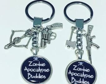 Zombie apocalypse buddies, zombie keyrings, walking dead, friendship keyrings, set of 2 keyrings, zombie friend keyrings
