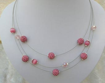 collier trois rangs rose saumon