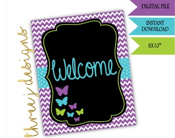 Butterfly Baby Shower Welcome Sign - INSTANT DOWNLOAD - Purple , Teal and Green - Digital File - J006