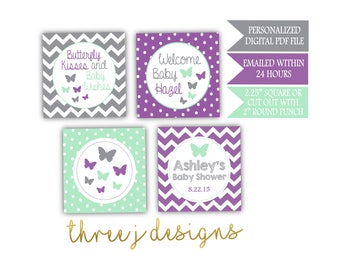 Butterfly Baby Shower Personalized Cupcake Toppers - Gray, Lavender and Mint - Digital File - J005