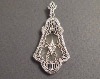 Edwardian Silver Filagree Lavalier Diamond Pendant