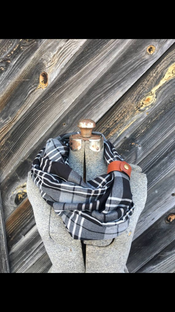 Black, gray and White plaid flannel eternity scarf with a brown leather cuff - soft, trendy
