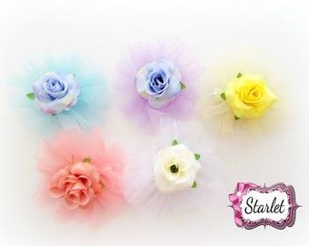 """Tulle Flower 3"""" Flower Clip, Girl's Hair Accessories, Baby Hair Clip, Hair Bows, Hair Flower"""