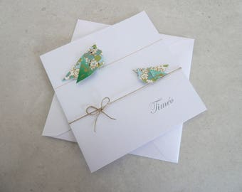 Make birth, baptism - greeting card, green, blue Japanese paper origami birds top range