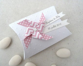 Box dragees + windmill dots pastel pink chevron - thank you gift for birthday, christening guests