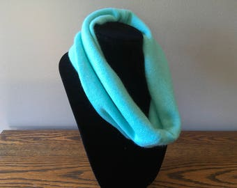 Upcycled cashmere neck warmer #47. Mint green cashmere cowl. Felted cashmere mint green infinity scarf.