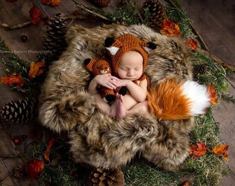 Newborn Fox Prop - Photography Prop - Fox Bonnet and Tail - Fox Stuffie - Newborn Props - Newborn Fox Bonnet - Newborn Fox Prop Set
