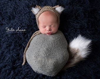 Newborn Props - Fox Prop - Newborn Fox Bonnet - Tail - Fox Stuffie - Silver Fox Prop - Photography Props - Fox Hat - Grey Fox Prop