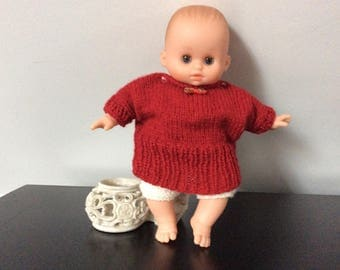 Dress and cropped wool red doll stand, Corolla, 29/30 cm
