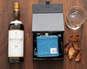 Set of 4 Hip Flasks / Groomsmen Gift / Hip Flask / Best Man Gift / Harris Tweed / Groomsmen Flask / Wedding Hip Flask / Usher Gifts