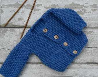 Baby Boy, knitted Jacket Cardigan, Sky Blue shade yarn, with wooden buttons, Wool Rich, 3 Months Ready to ship from UK Worldwide