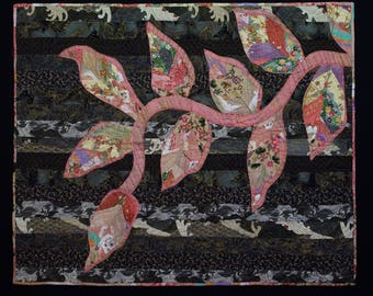 Japanese Fabric Quilt, Asian Quilt, Applique Quilt Art, Quilt Wall Hanging,  Table