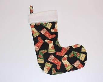 Christmas Stocking, xmas stocking, handmade stocking, fluffy stocking, christmas decoration, holly, home decor, merry christmas