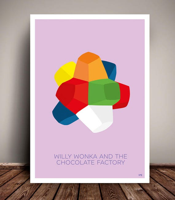 Willy Wonka & The Chocolate Factory // Everlasting Gobstopper // Minimalist Movie Poster // Unique Art Print