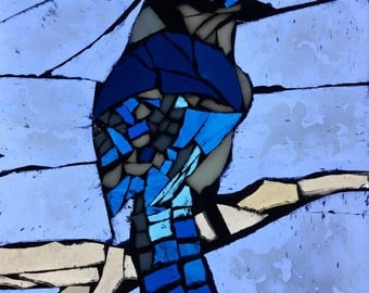 Blue Jay Stained Glass Mosaic