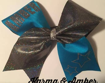 Blue & black/silver PERSONALIZED Cheer Bow CHOOSE A NAME
