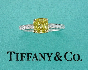 Tiffany & Co Novo Fancy Intense Yellow Diamond Platinum Engagement Ring 1.00ct