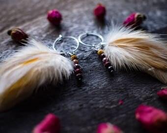 Feather earrings, hoop earrings