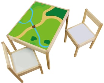 """Play room idea: Furniture sticker """"Playground"""" for IKEA LÄTT kids table (1M-ST02-07) - Perfect gift for kids - Furniture not included"""