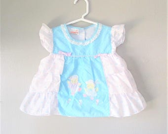 Vintage Retro Baby Girl Dress / Hush Puppies Blue and White Cotton Toddler Yellow Chick / Size 12-18 Months