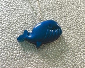 Cute Chubby Whale Necklace. Blue