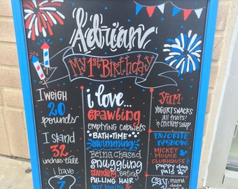 Red, white and blue birthday chalkboard, 4th of July themed birthday chalkboard, custom sign, hand painted chalkboard
