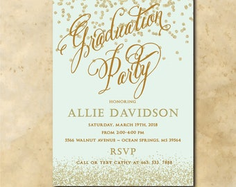 Gold Graduation Party Invitation printable/Digital File/mint , graduation party, glitter, class of 2018/Wording & color can be changed