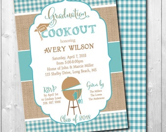 Graduation Party Invitation printable/Digital File/Graduation cookout, grill, burgers, bbq, boy, girl, class of 2018/Wording can be changed