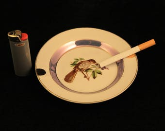 Vintage Ashtray Porcelain Bird Eating Berries Blue Ring Gold Trim Collectible Gift