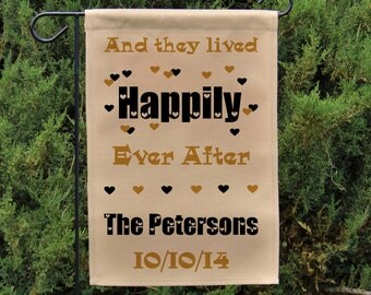 They Lived Happily Ever After Flag, Personalized Garden Flag Or Wall  Hanging, Anniversary Or