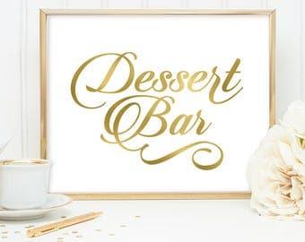 Dessert Bar Sign DIY, Wedding Dessert Sign, Cake / Gold Wedding Sign / White Gold Calligraphy, Faux Metallic Gold ▷Instant Download JPEG