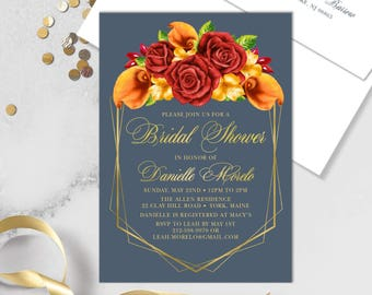 Fall Bridal Shower Invitation / Red Rose Flower, Orange Calla Lilly, Floral Invitation, Gold Geometric ▷ Printed Heavy Paper {or} Printable