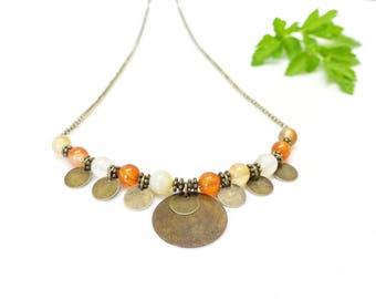 ✽ Carnelian ~ boho necklace, gemstones & bronze sequins