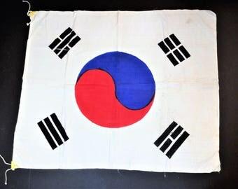 Authentic  Korean War Silk Korean Flag - Korean Battle Flag - Military Collectible - Korean War Souvenir Memorabilia