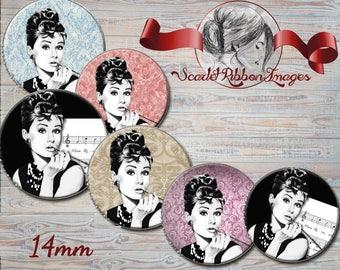 Audrey Hepburn 14mm  Vintage Audrey Hepburn digital images in 14mm size for charms, pendants etc