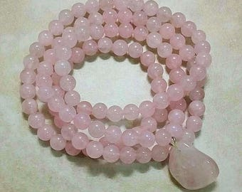 Rose Quartz Mala 108 Beads Elastic OOAK