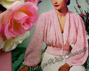 Vintage 1940s Lady's Dressing Jacket Knitting Pattern, Simply Stunning !
