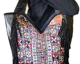 Vintage Handmade Gypsy Banjara Suede Leather Shoulder Bag, Vintage Tribal Banjara Bag, Beatiful Christmas Gift for your Lover,Tote Bags.