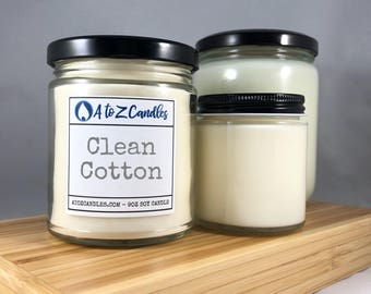 Cotton|Anniversary|Gift, Clean Cotton, Cotton Blossom, Cotton Candle, Cotton Scented Candle, Glass Jar Candle, Soy Candle, Fresh and Clean